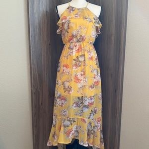 AUW Floral Dress Yellow Ruffle High Low